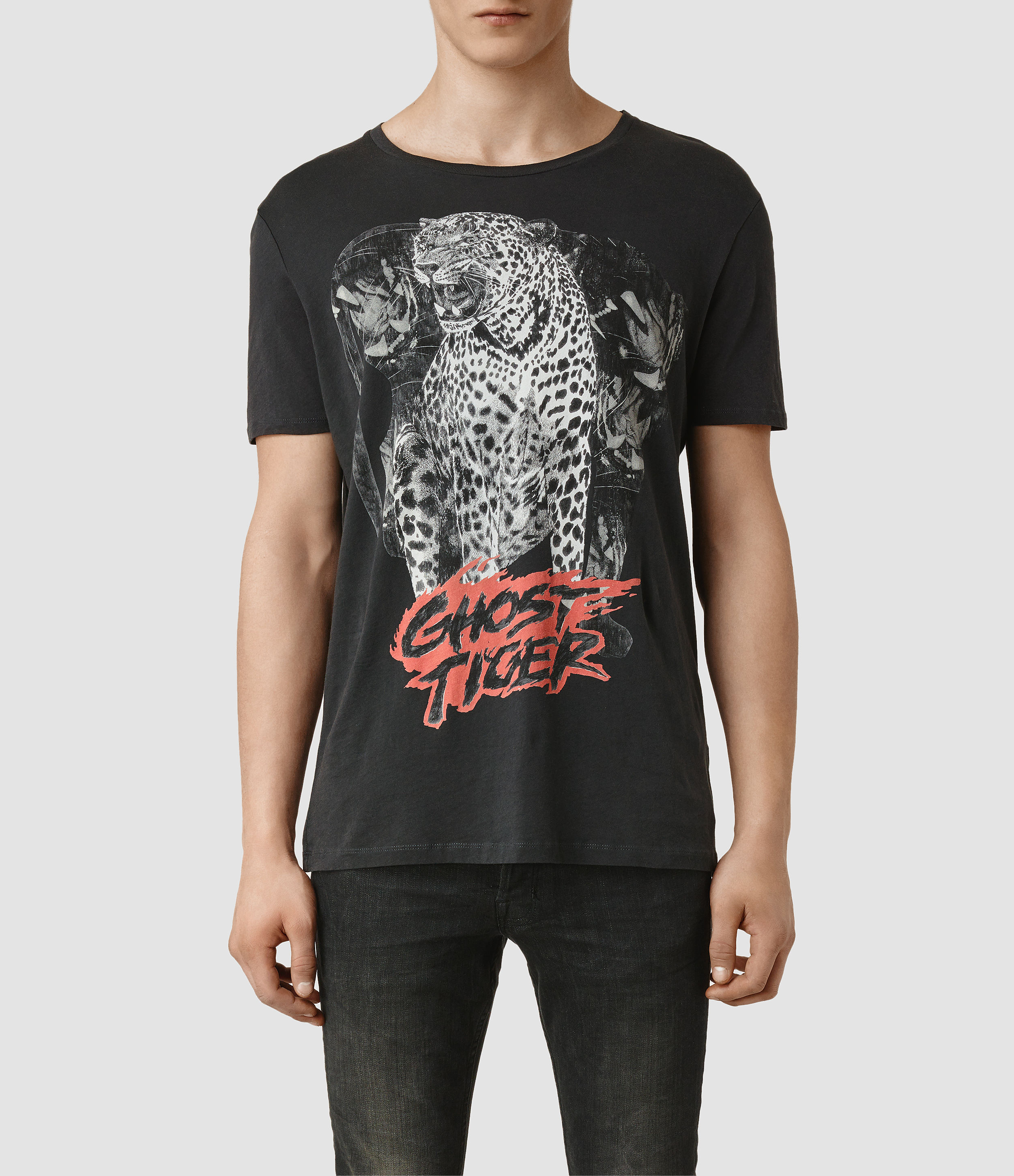 allsaints ghost tiger crew t shirt in black for men lyst
