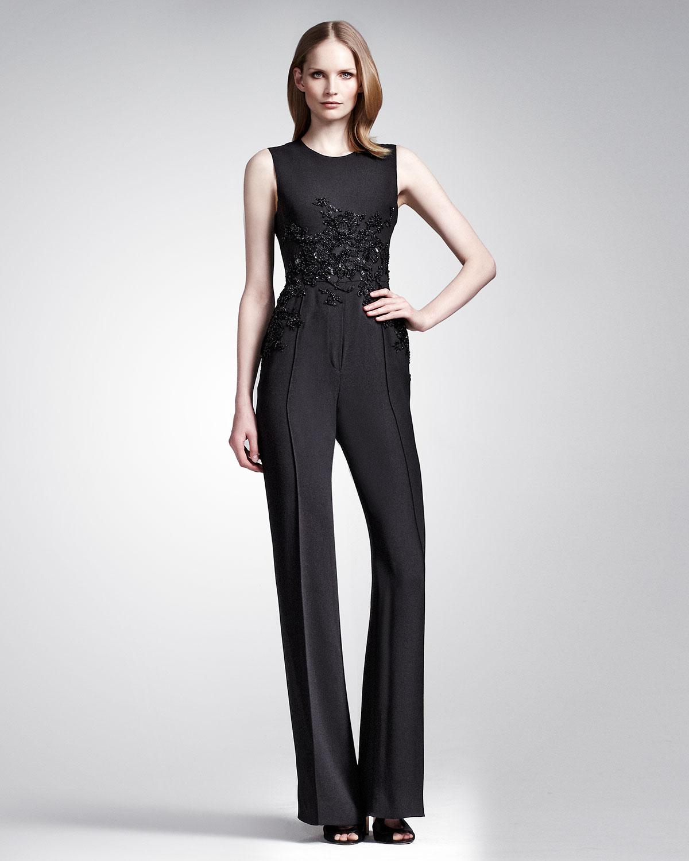 d24660746778 Lyst - Elie Saab Sleeveless Embellished Jumpsuit Black in Black