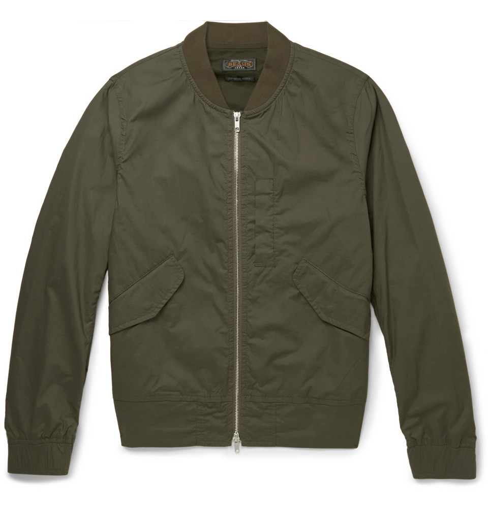Beams plus Cotton-Blend Flight Jacket in Green for Men | Lyst