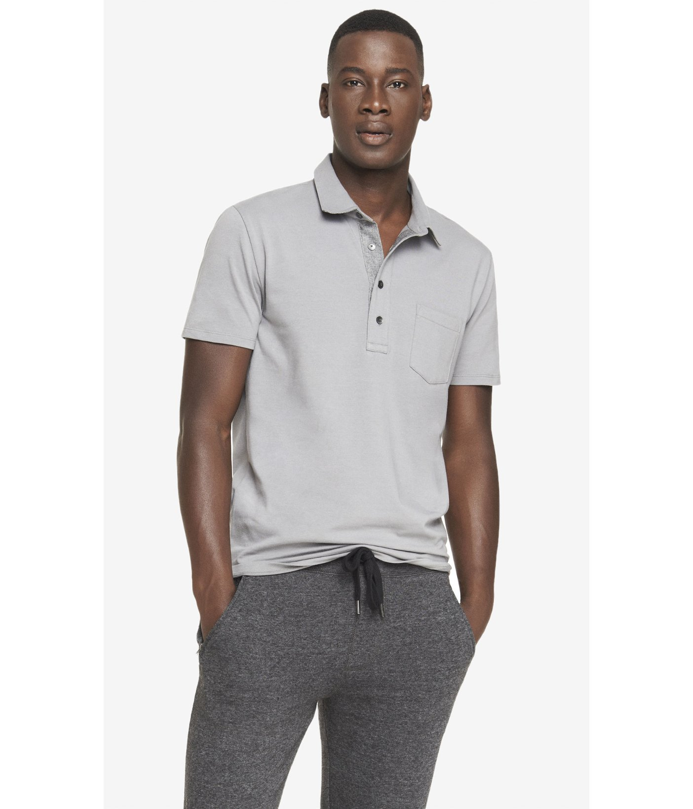 Lyst Express Chambray Placket Signature Polo In Gray For Men