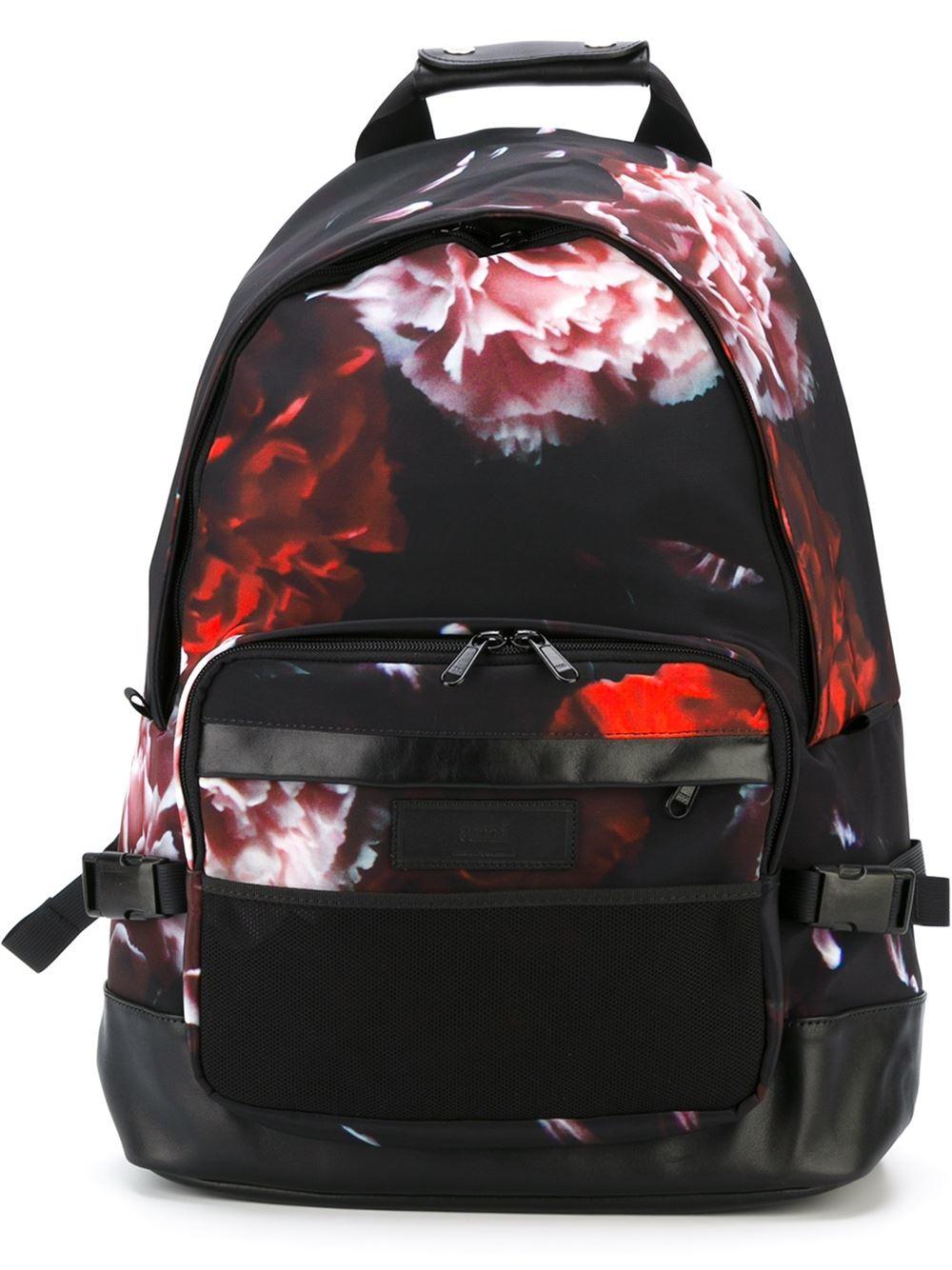 ami floral print backpack in black for men lyst