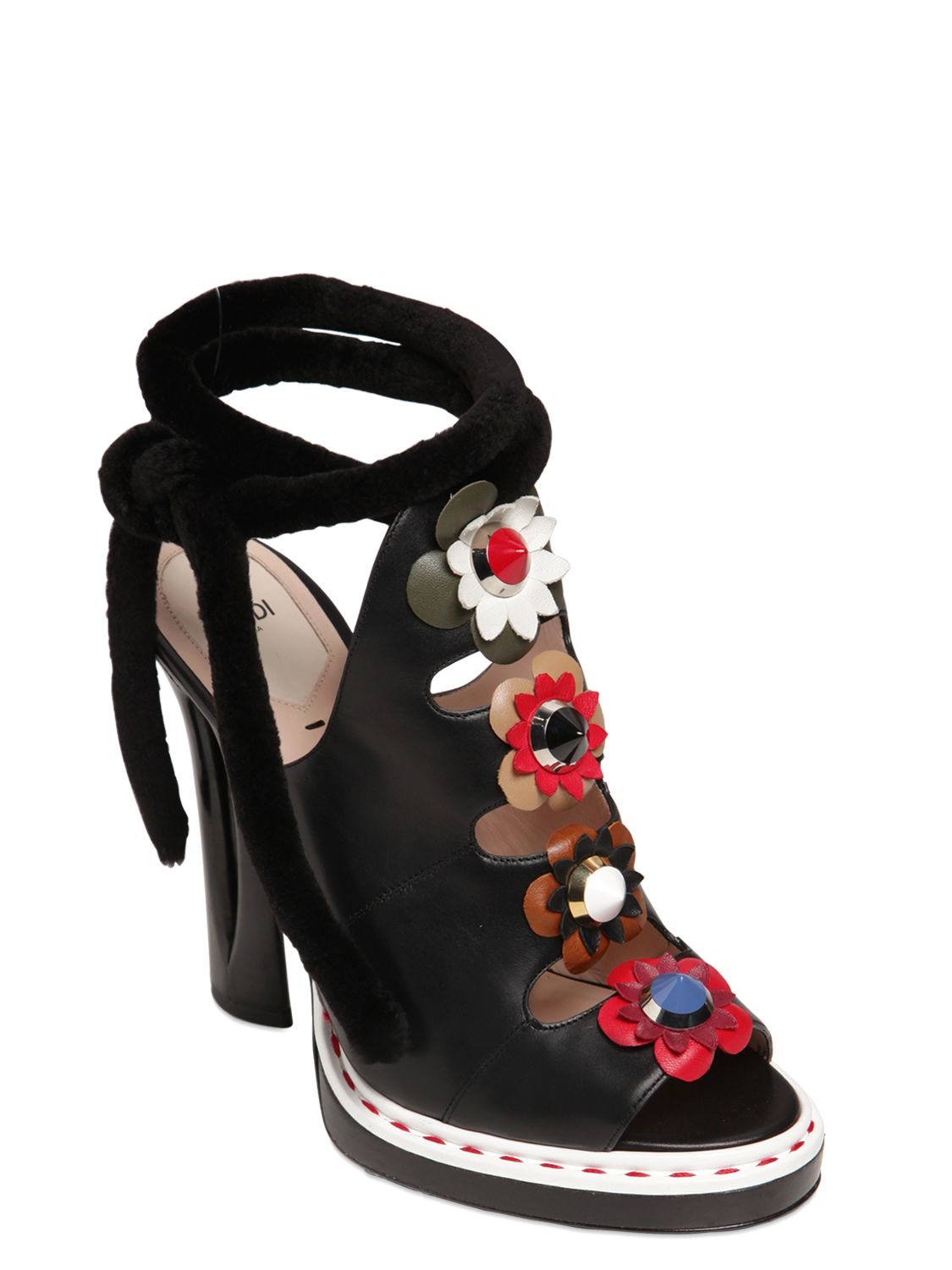 Lyst Fendi 125mm Flower Appliqu 233 S Leather Sandals In Black