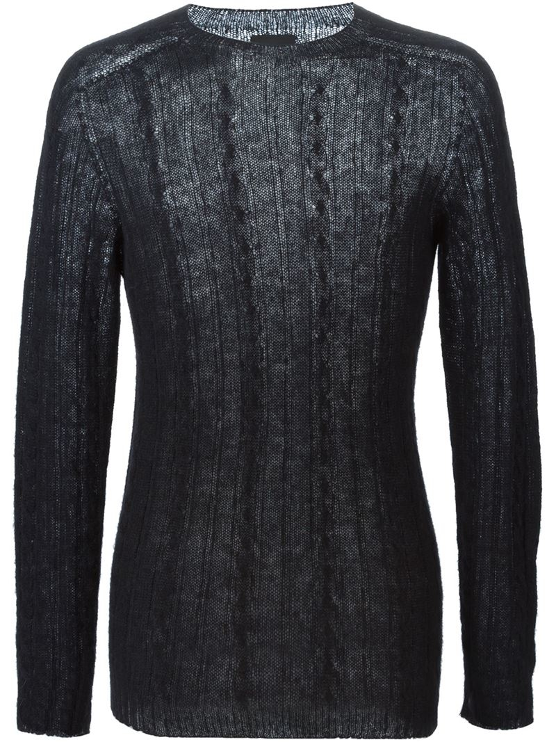 Laneus Fine Cable Knit Sweater in Black for Men | Lyst