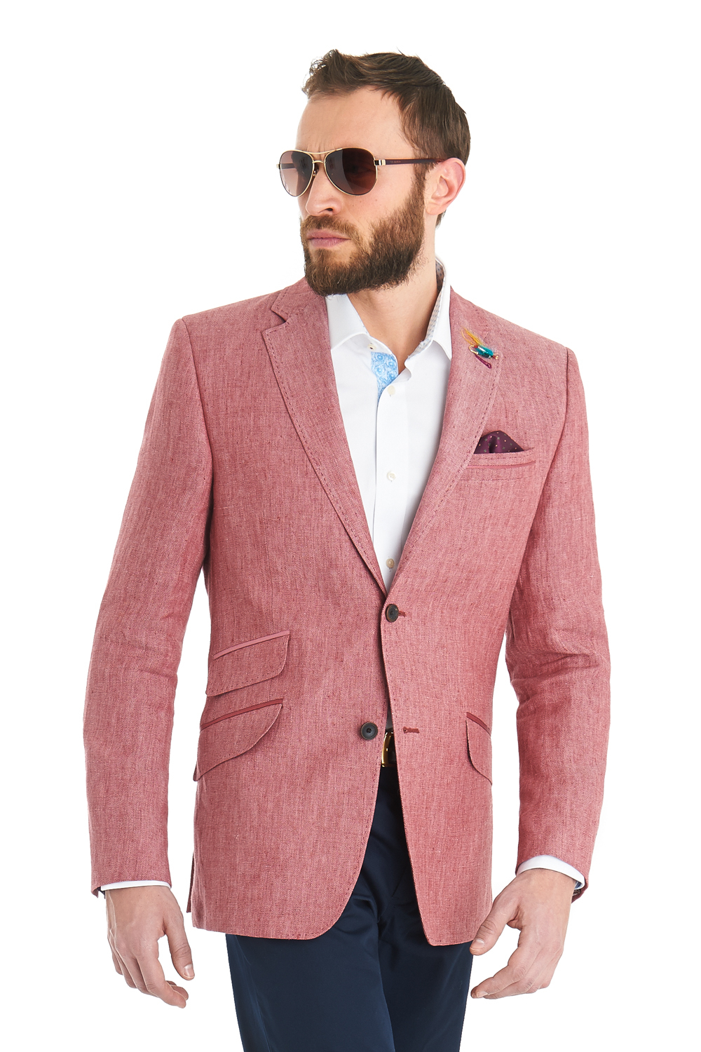 afc2fa52d Ted Baker Tailored Fit Pink Herringbone Linen Jacket in Pink for Men ...