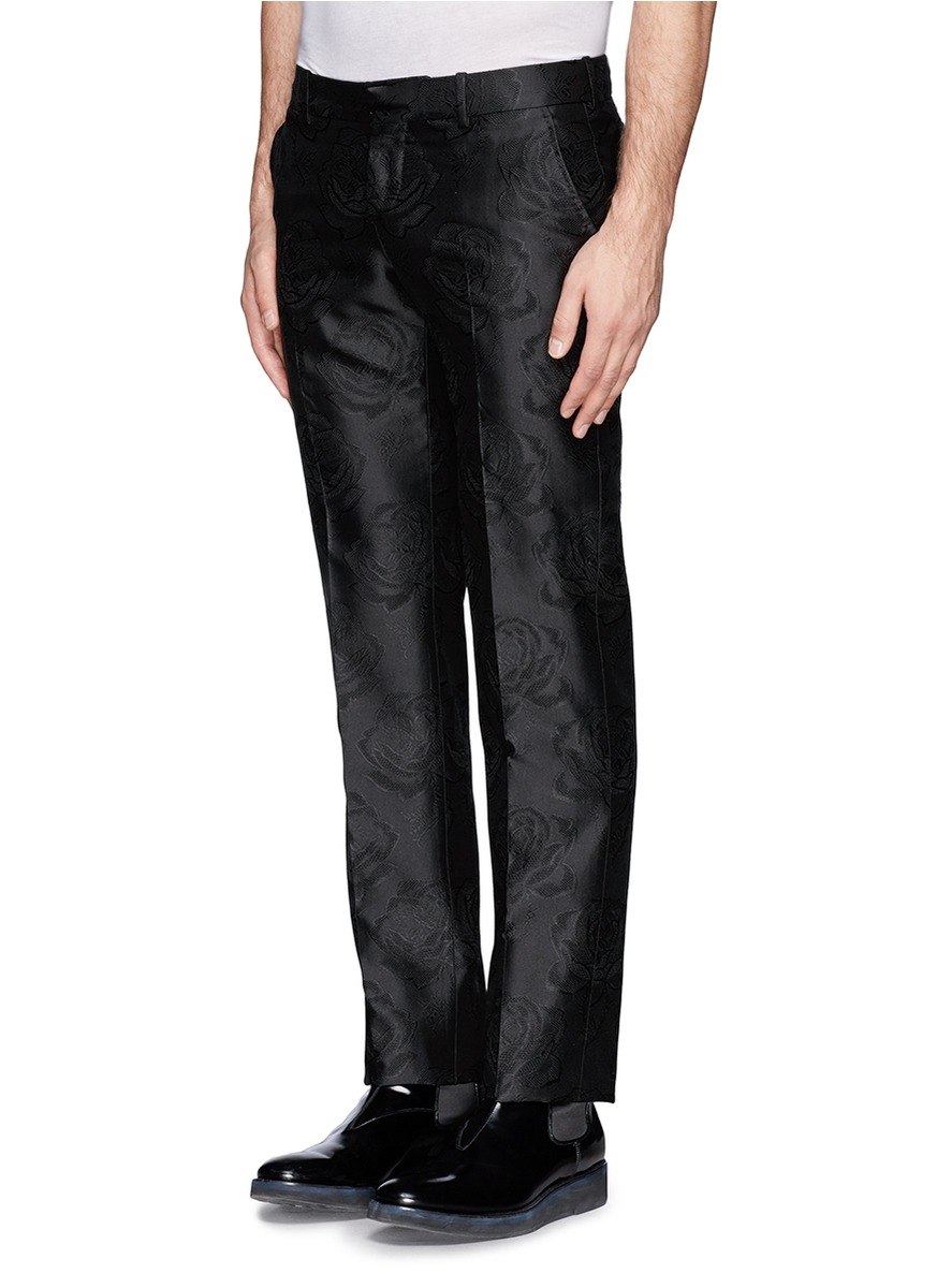 Alexander mcqueen Rose Jacquard Silk Pants in Black for ...