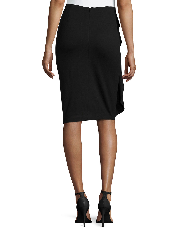 escada side ruffle pencil skirt in black lyst