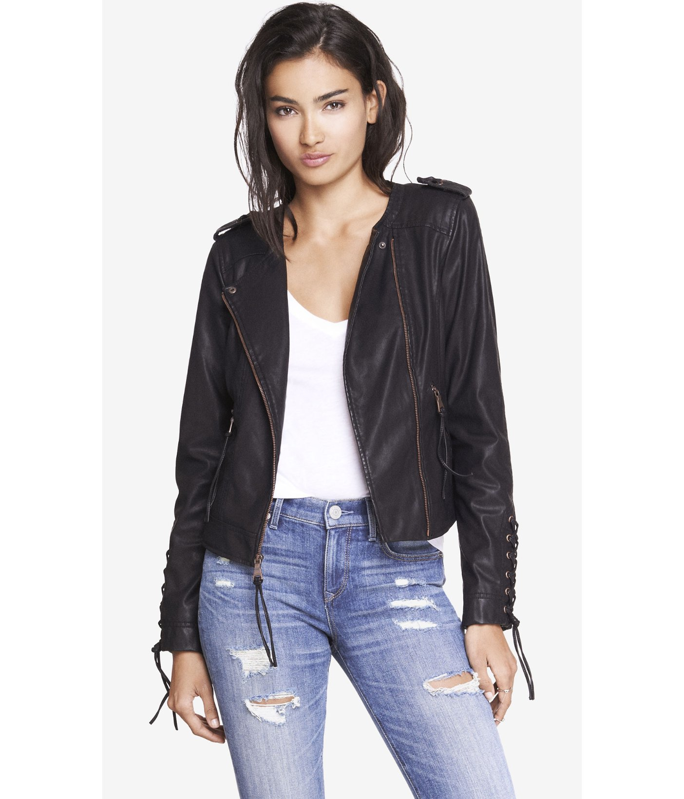 Lyst Express Minus The Leather Lace Up Moto Jacket In Black