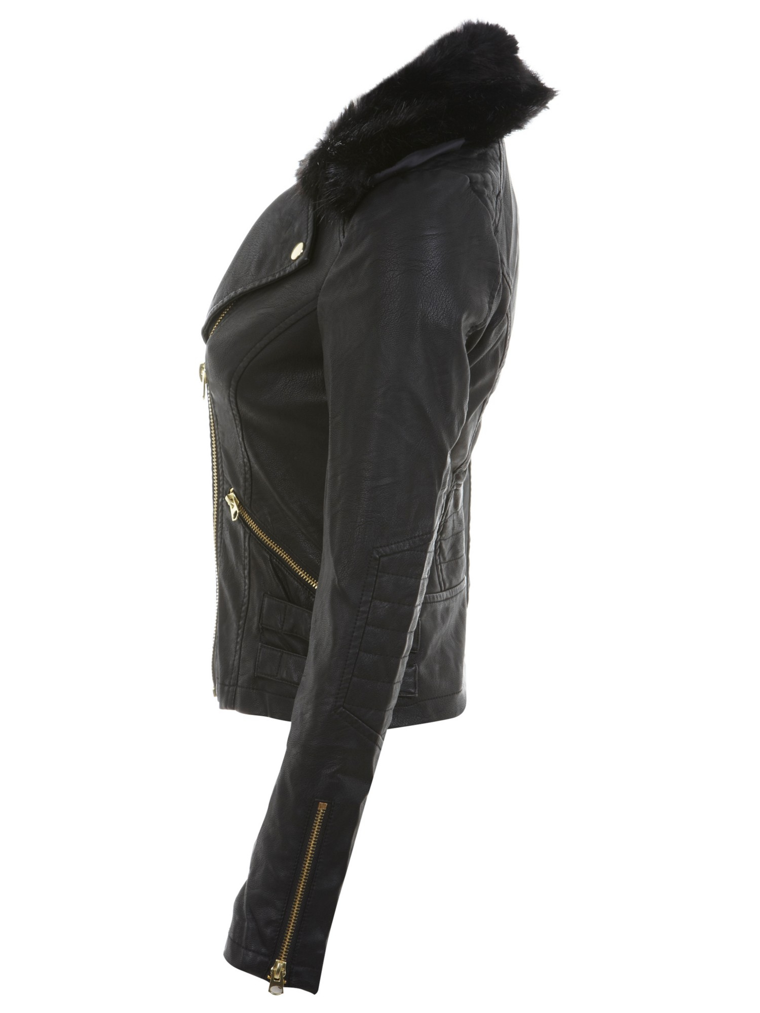 Miss selfridge Fur Collar Faux Leather Jacket in Black