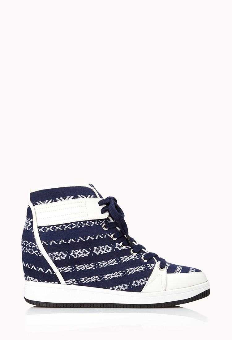 Forever 21 Globetrotter Wedge Sneakers in Blue | Lyst