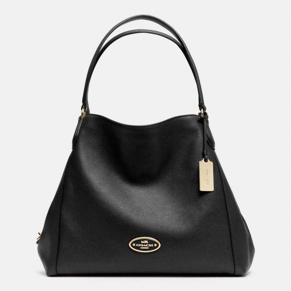 Coach Edie Shoulder Bag In Pebble Leather in Black (LI/BLACK) | Lyst