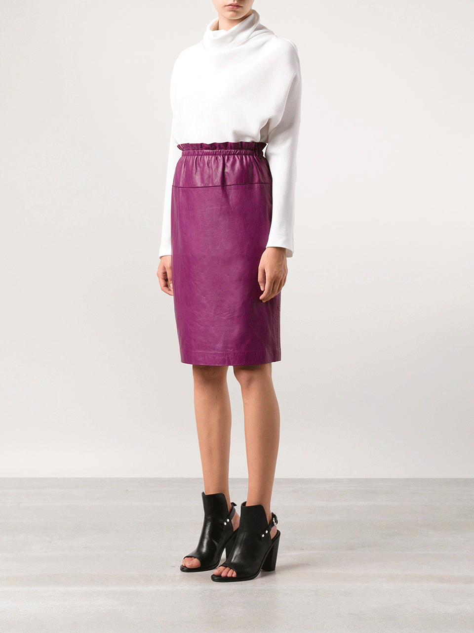 3 1 phillip lim knee length leather skirt in purple