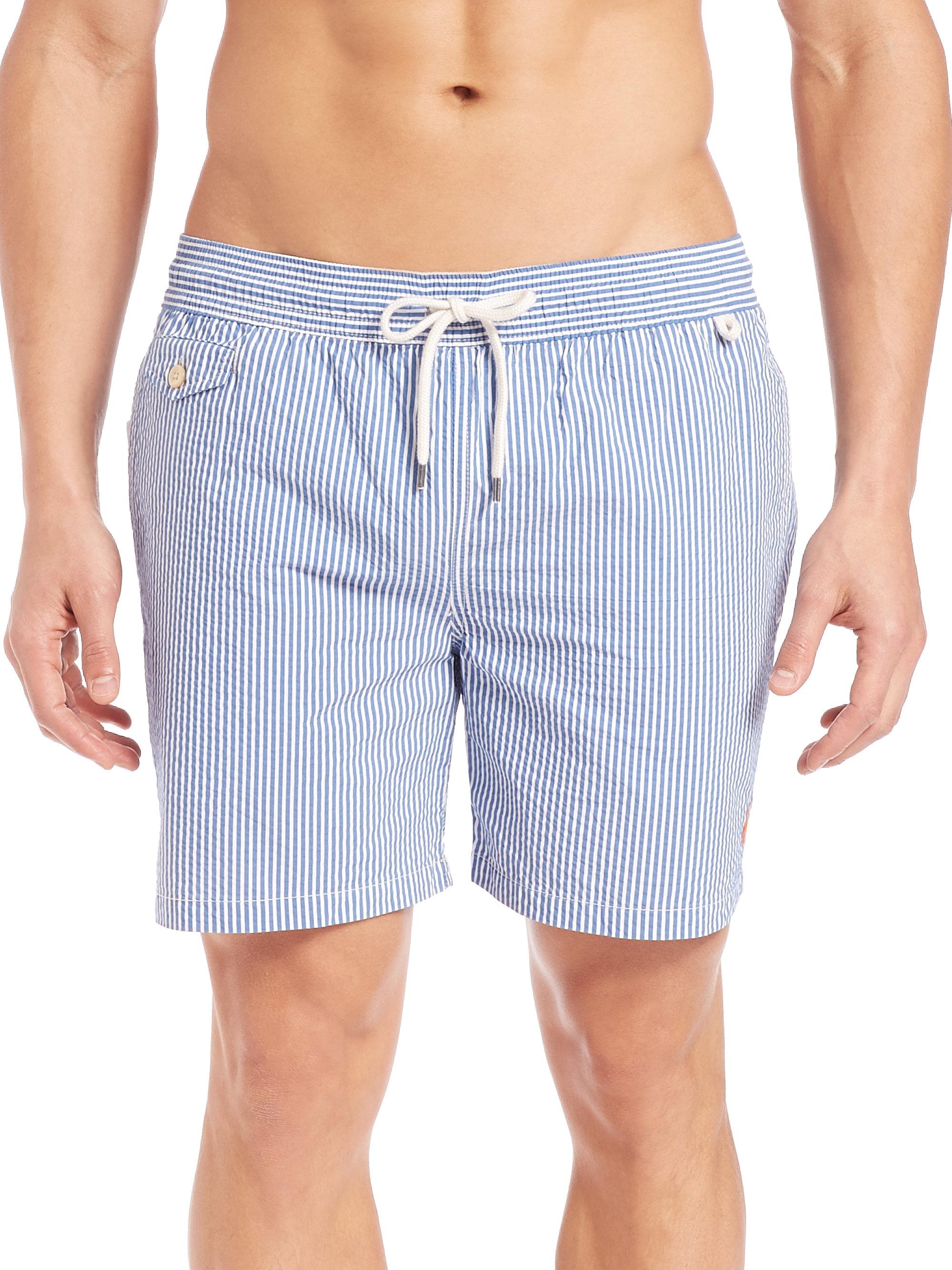 711d33f656 Polo Ralph Lauren Seersucker Traveler Swim Shorts in Blue for Men - Lyst
