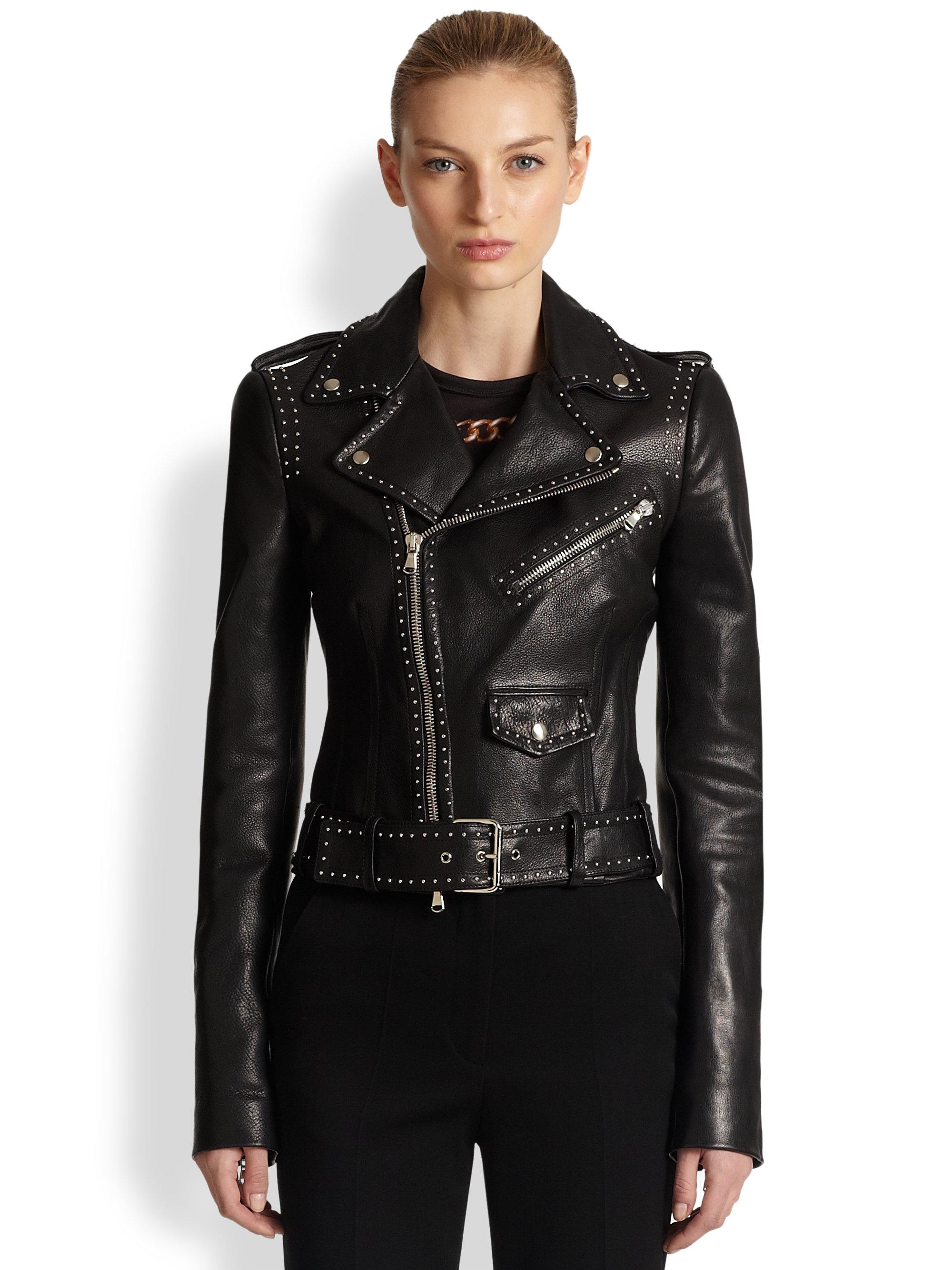 Alexander Mcqueen Studded Leather Moto Jacket In Black Lyst