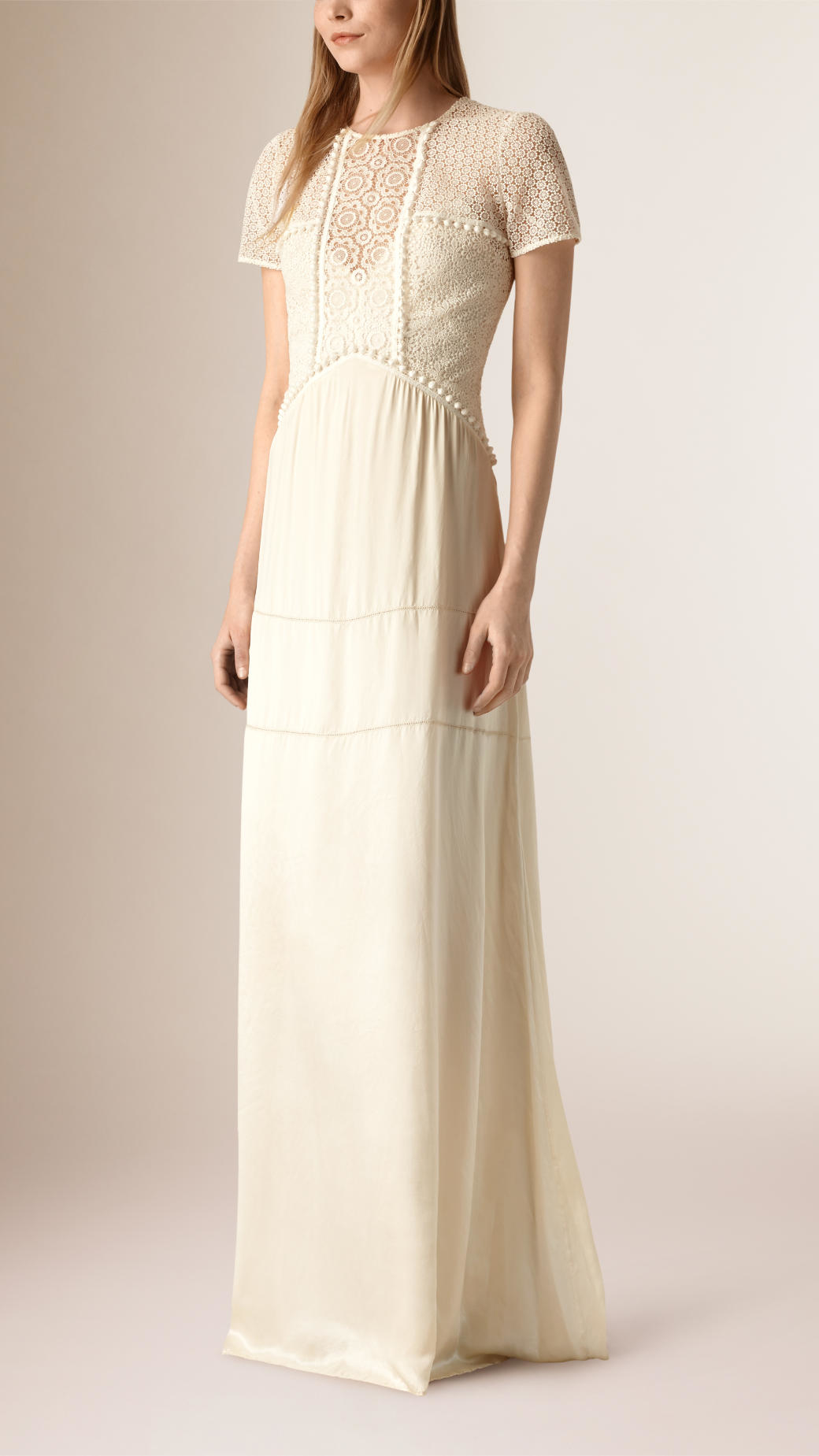 Lyst Burberry Floor Length Silk And Italian Lace Dress