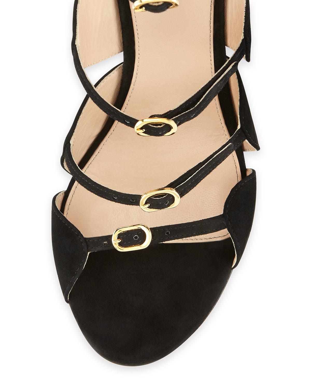 8bed6f45ad78 Lyst - Giambattista Valli Beaded Block-heel Suede Sandal in Black