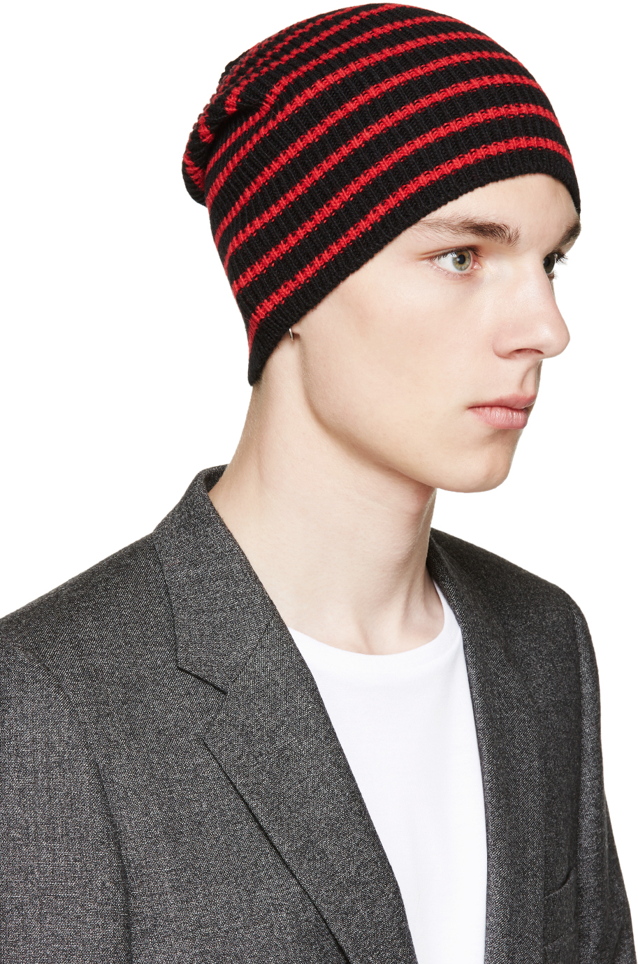 Lyst - Saint Laurent Black And Red Striped Beanie in Red for Men f521b1eef8d