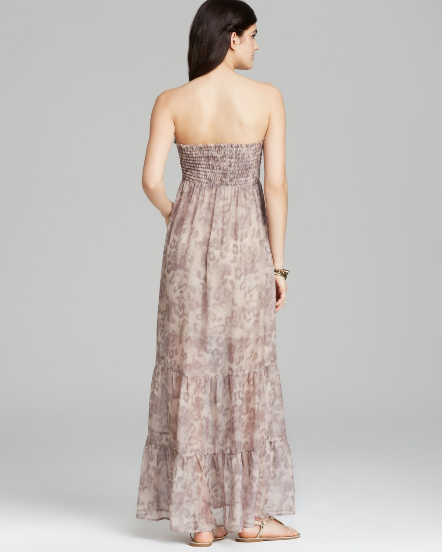 983ea686f6 Lyst - Guess Maxi Dress - Leopard Print Smocked Tube