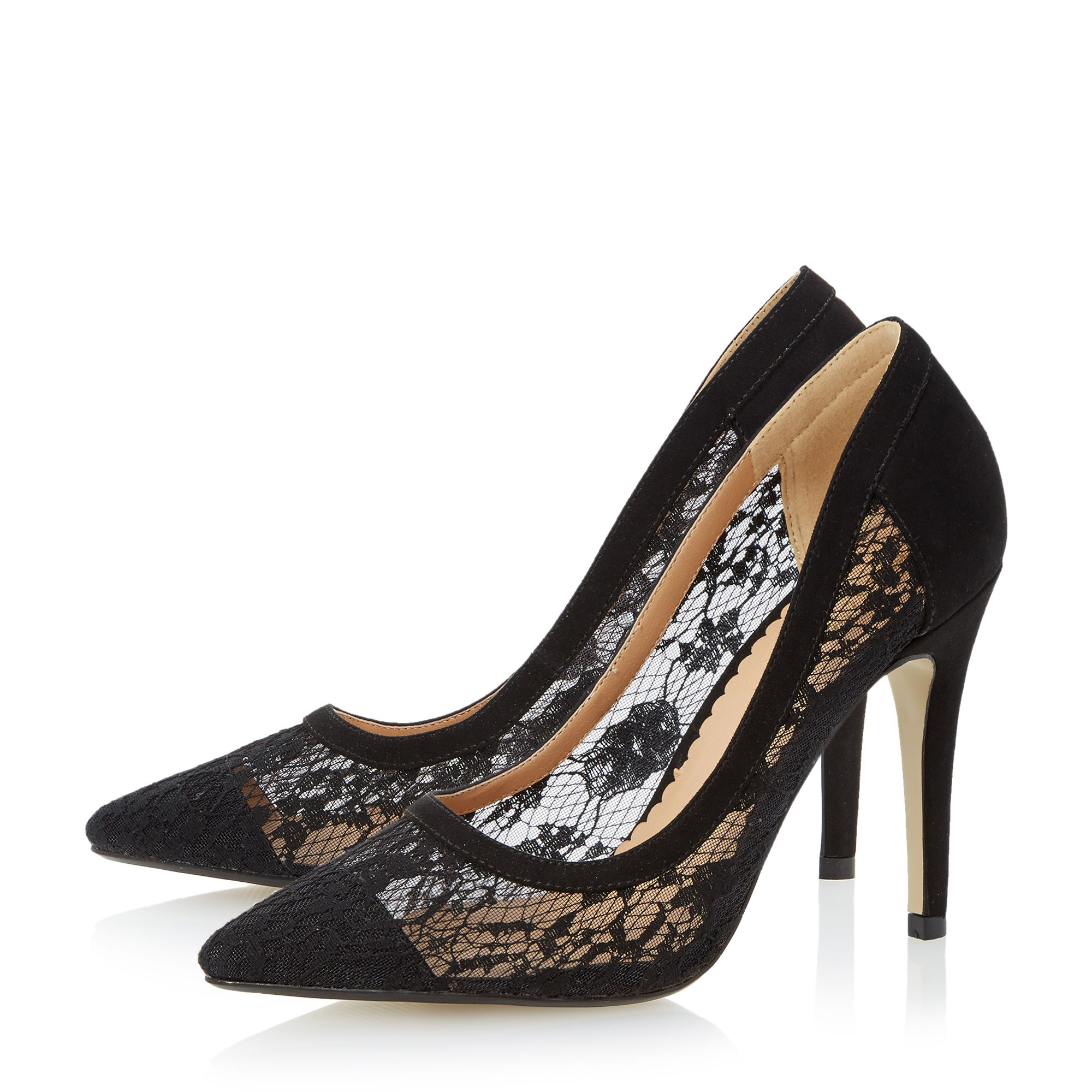 dune audrine pointed court shoes in black lyst