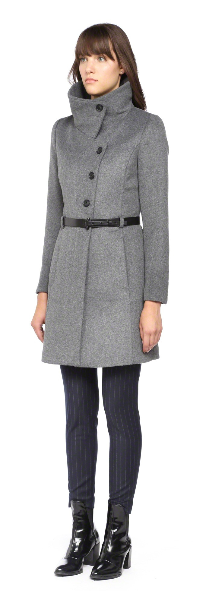 Soia & kyo Autry-F4 Classic Grey Wool Coat With Belt in Gray | Lyst
