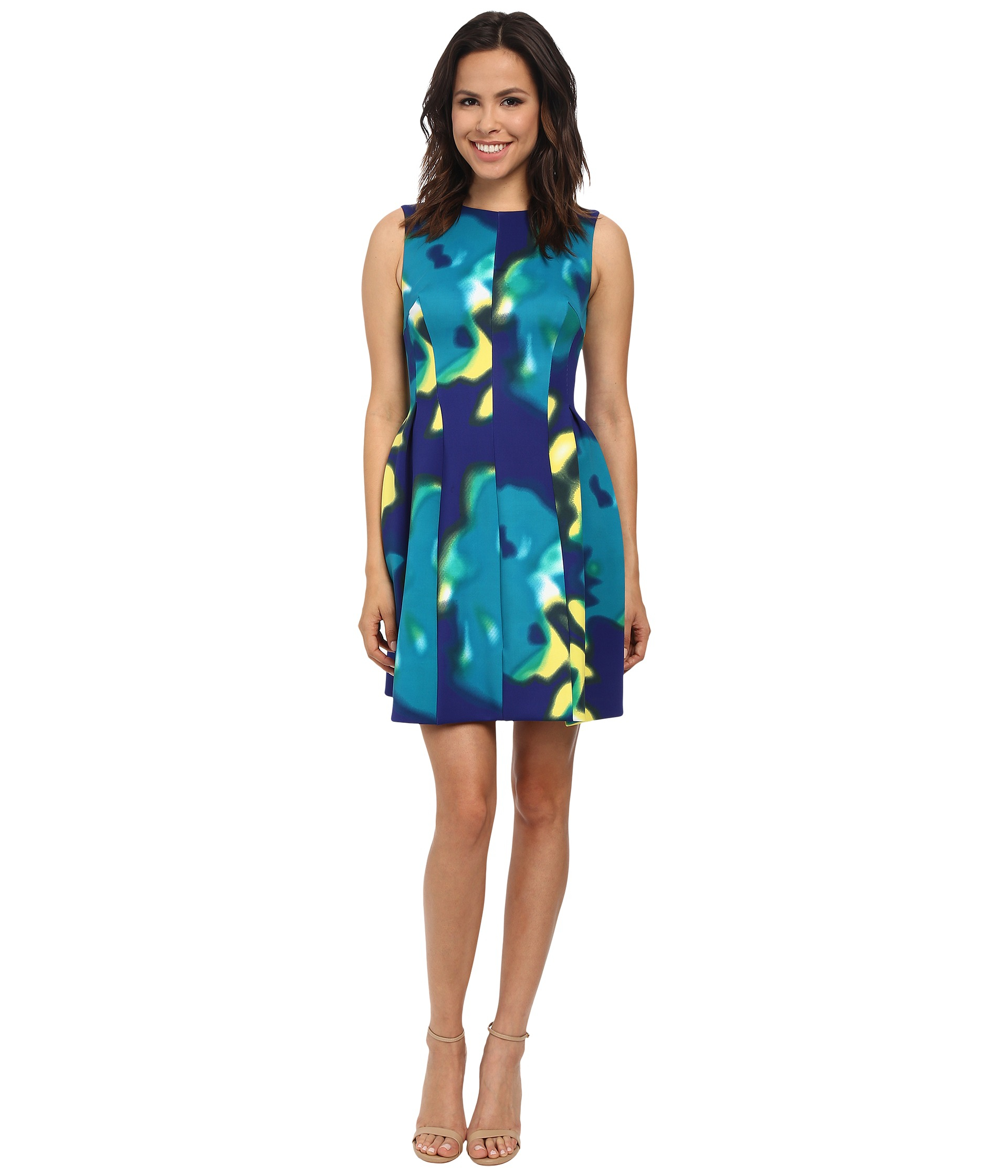 Calvin Klein Fit Amp Flare Printed Scuba Dress In Blue Lyst