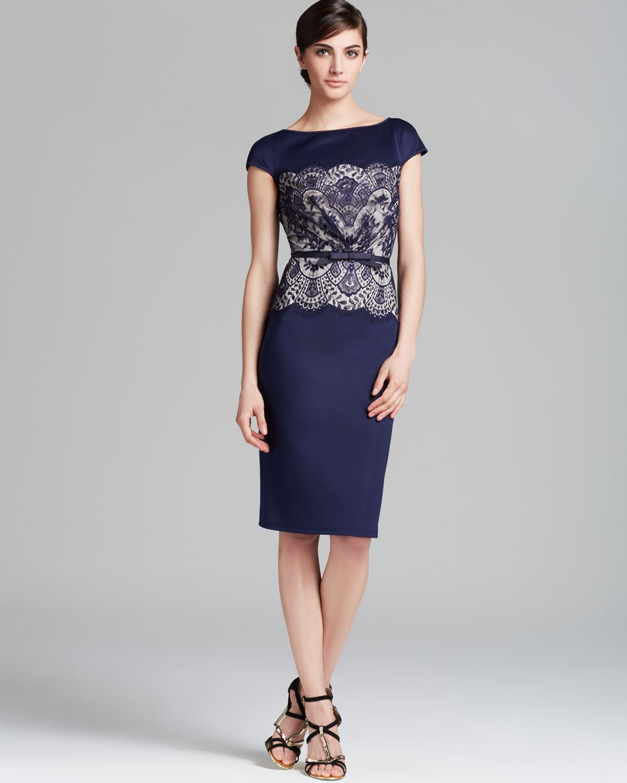tadashi shoji dress cap sleeve neoprene lace print with