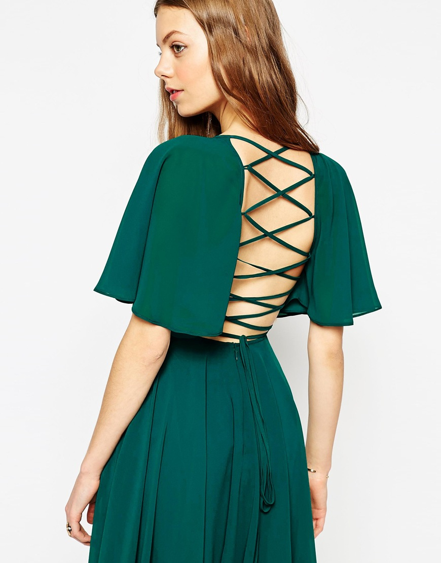 Asos Lace Up Back Kaftan Sleeve Midi Dress in Green | Lyst
