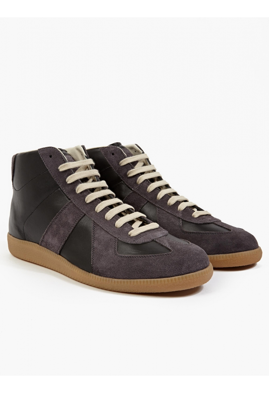 maison margiela 22 men s black leather and suede hi top replica sneakers 22 men s black leather. Black Bedroom Furniture Sets. Home Design Ideas