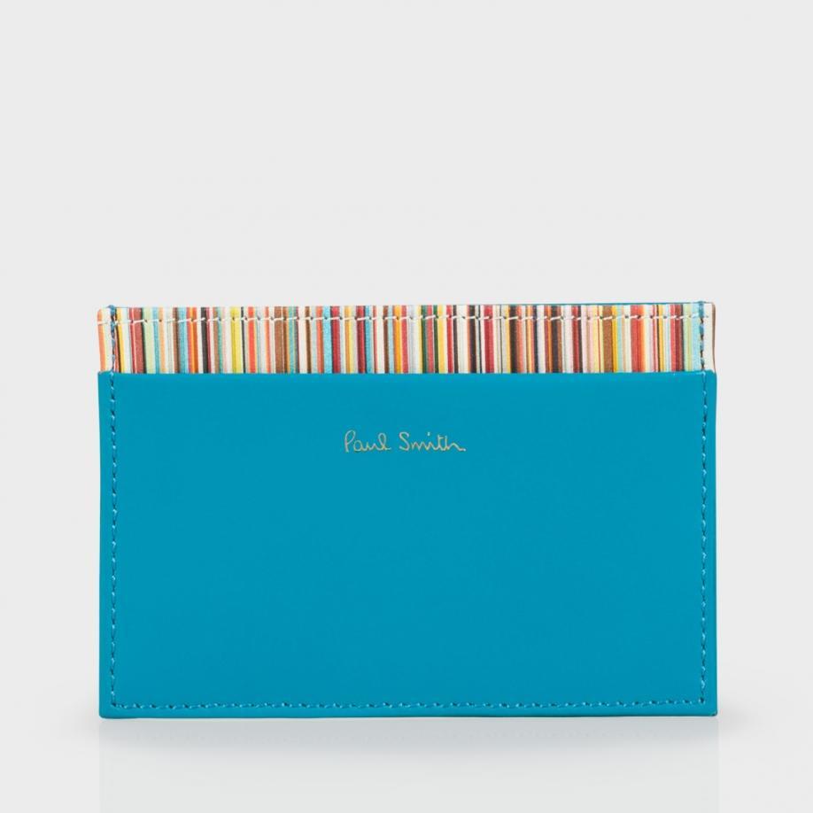 ed83418c58e8 Paul Smith Men's Sky Blue Leather Signature Stripe Trim Credit Card ...