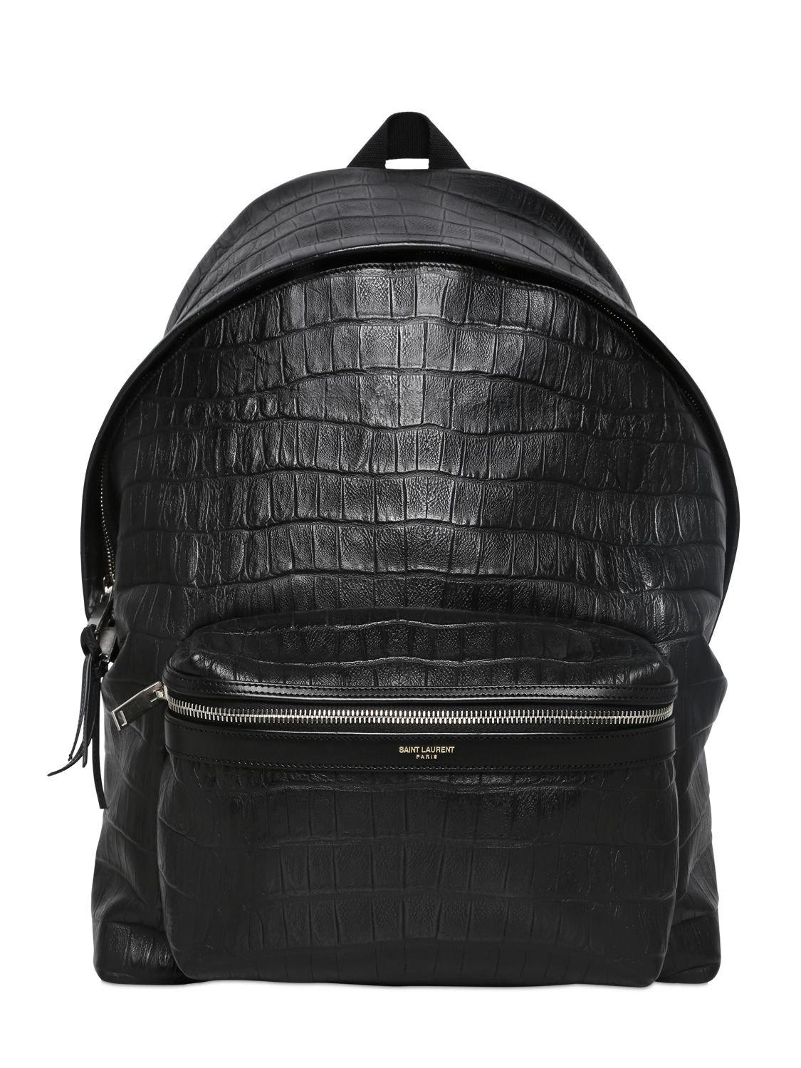 Saint Laurent Croc Embossed Leather Backpack In Black For