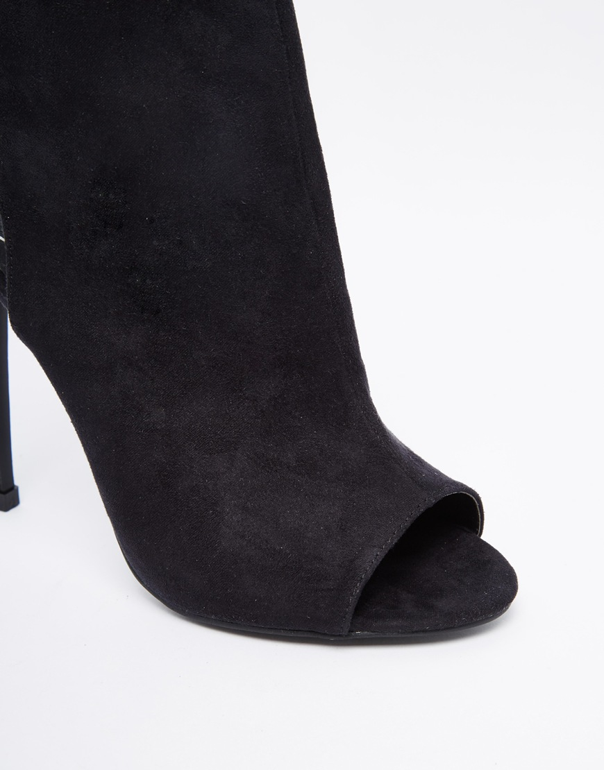 ea1beda6364ae Missguided Peep Toe Heel Boots With Lace Up Back in Black - Lyst