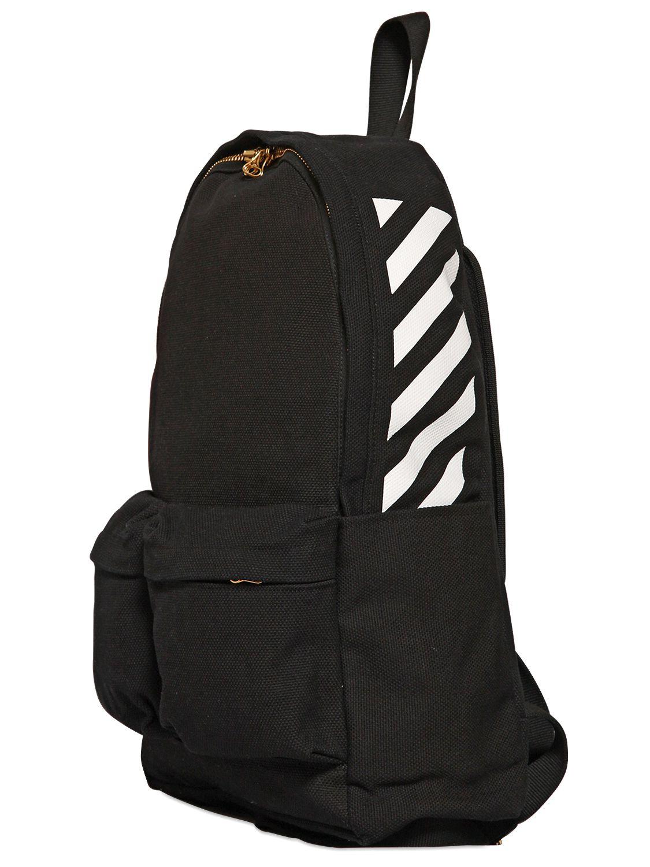 off white c o virgil abloh striped cotton canvas backpack. Black Bedroom Furniture Sets. Home Design Ideas