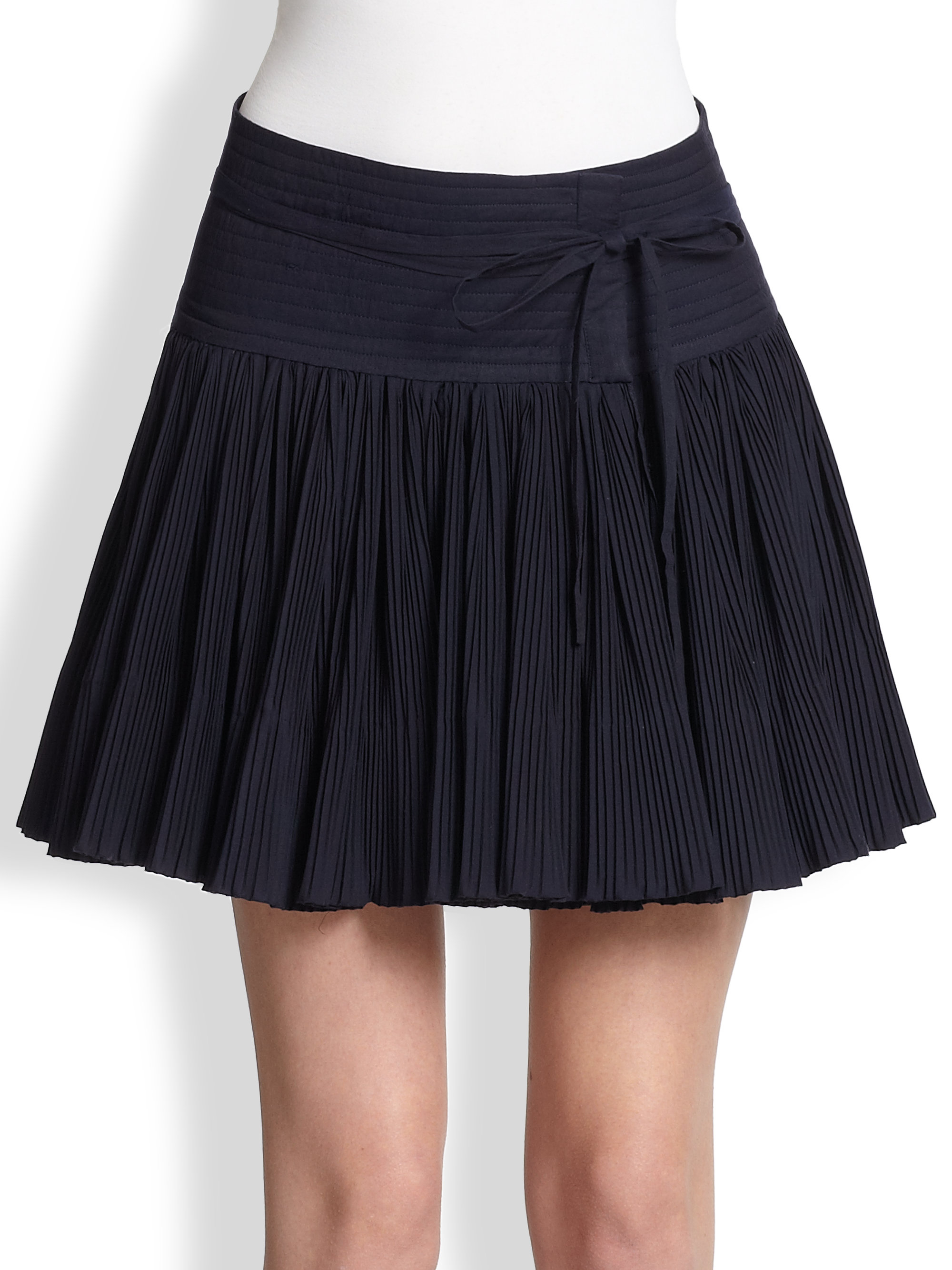 christophe lemaire cotton muslin pleated skirt in blue
