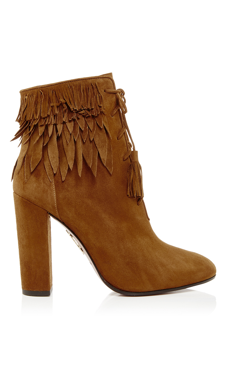 aquazzura woodstock suede fringed ankle boots in brown lyst