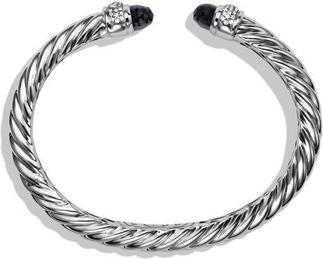 David Yurman Waverly Cable Bracelet with Black Onyx Diamonds in Silver