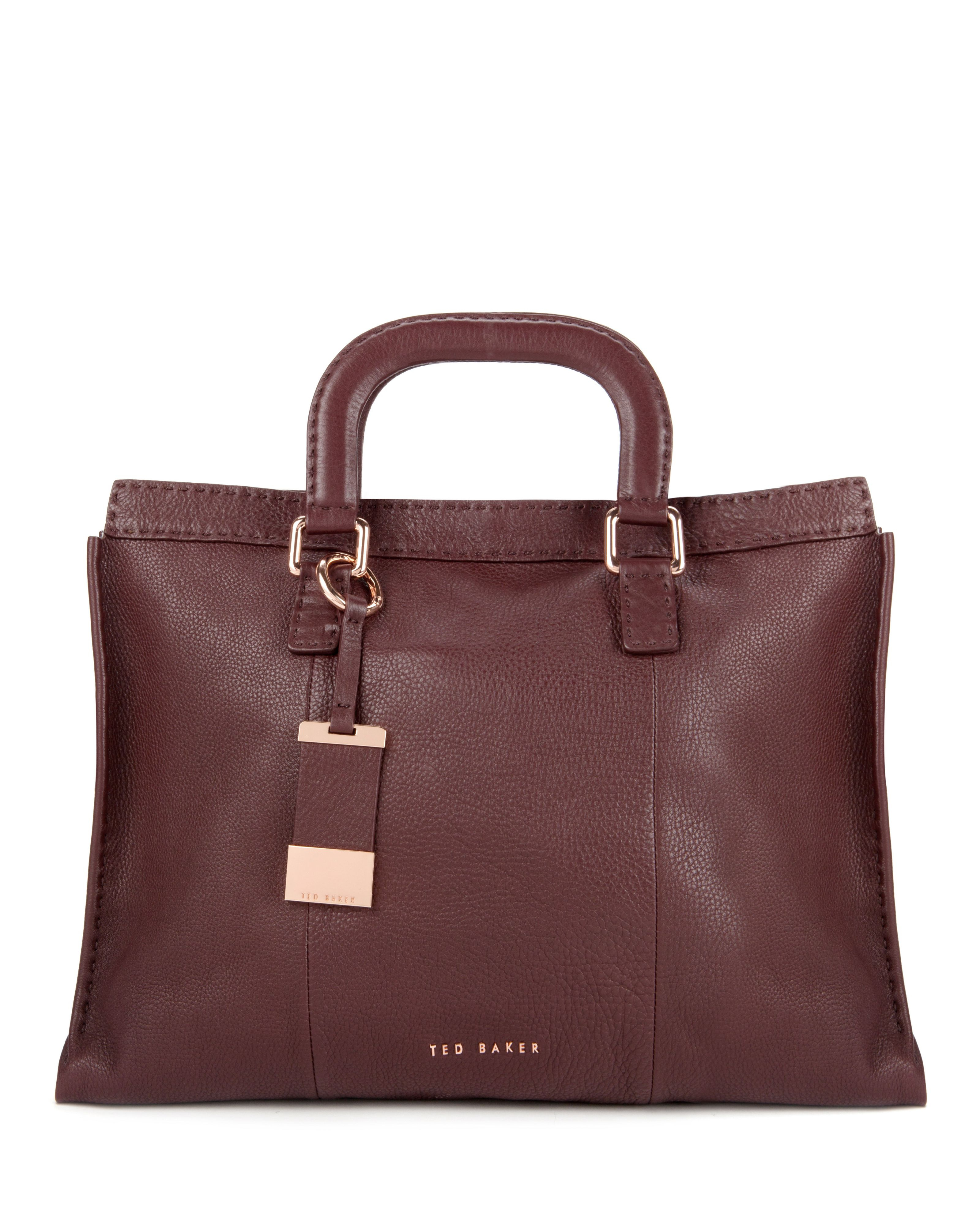 Ted Baker Brown Tottier Leather Stab Stitch Bag for men