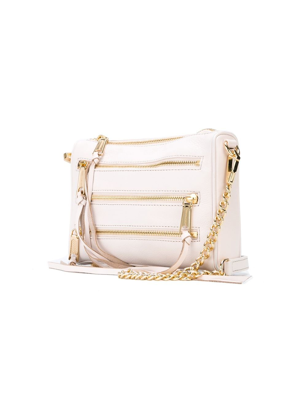 Rebecca Minkoff Leather Multiple Zip Crossbody Bag in Natural
