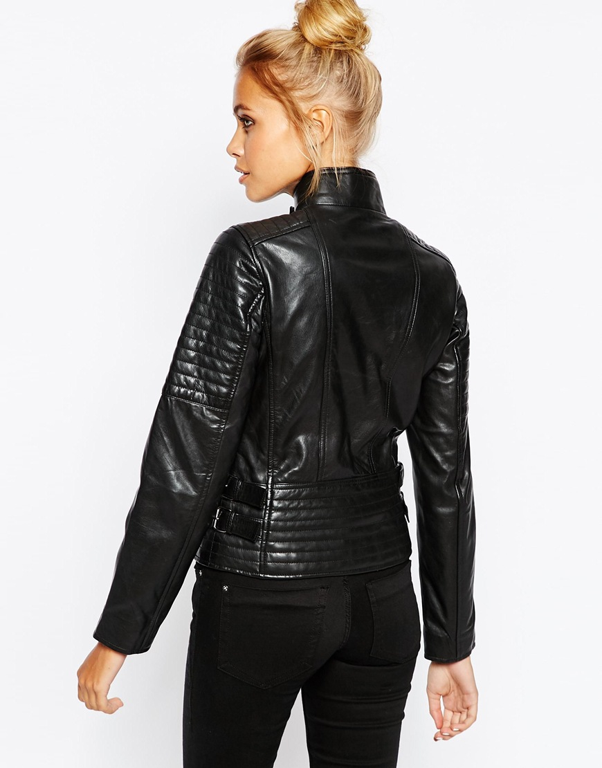 71a494e79 Barneys Originals Black Leather Biker Jacket With Quilting And Buckle Detail