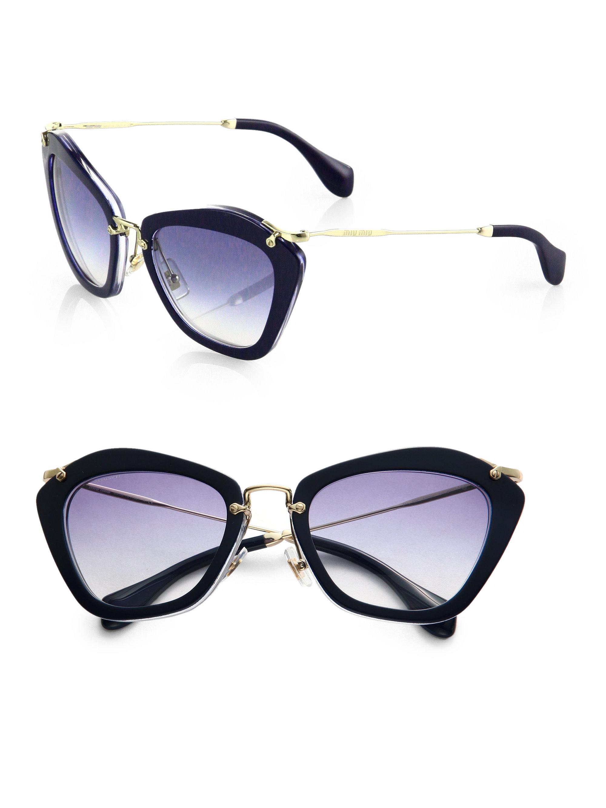 43ee16c0314 Lyst miu plastic metal cats eye sunglasses in blue jpg 2000x2667 Cat eye  metal