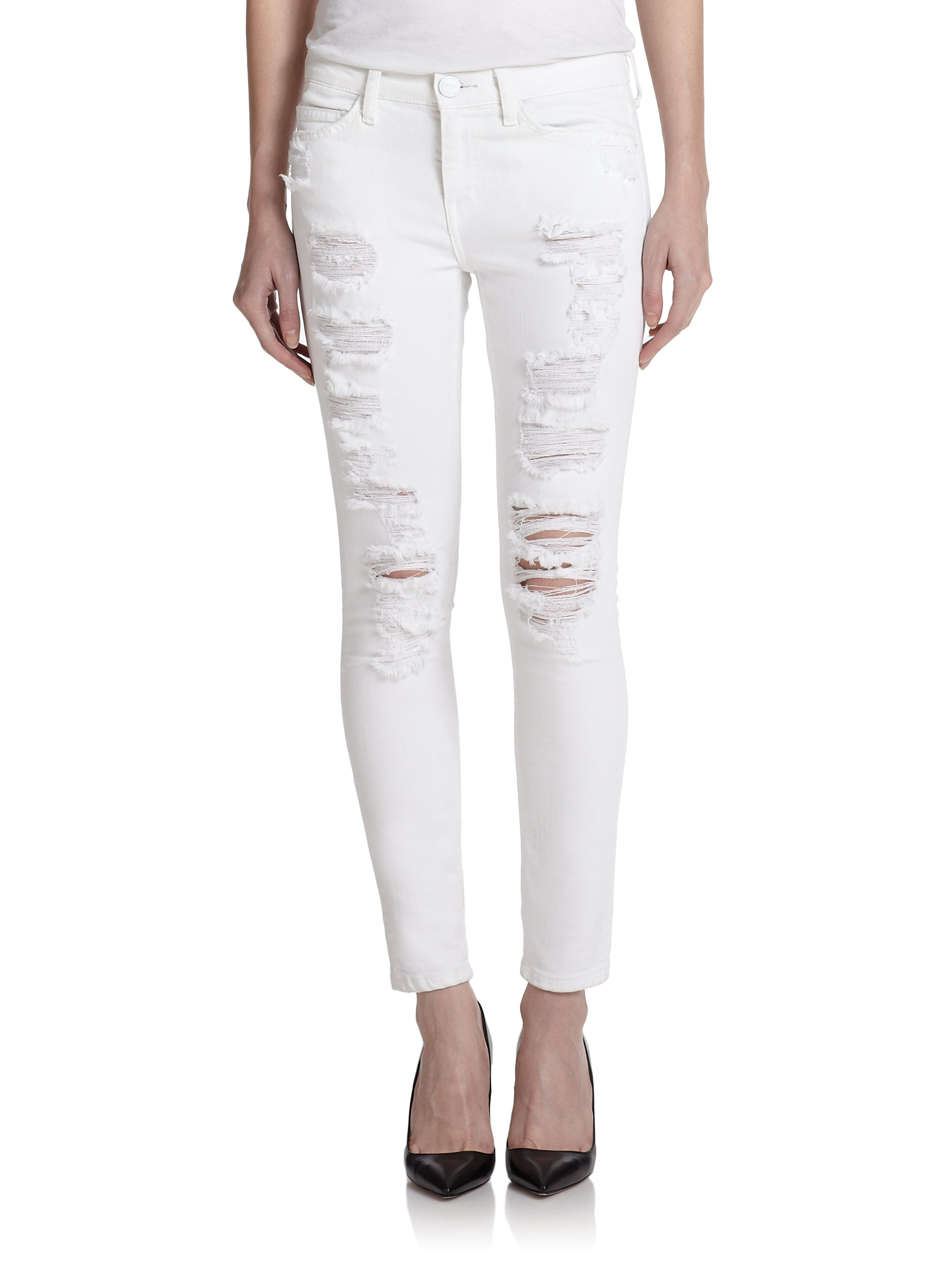 Current/elliott The Stiletto Distressed Skinny Jeans in White | Lyst