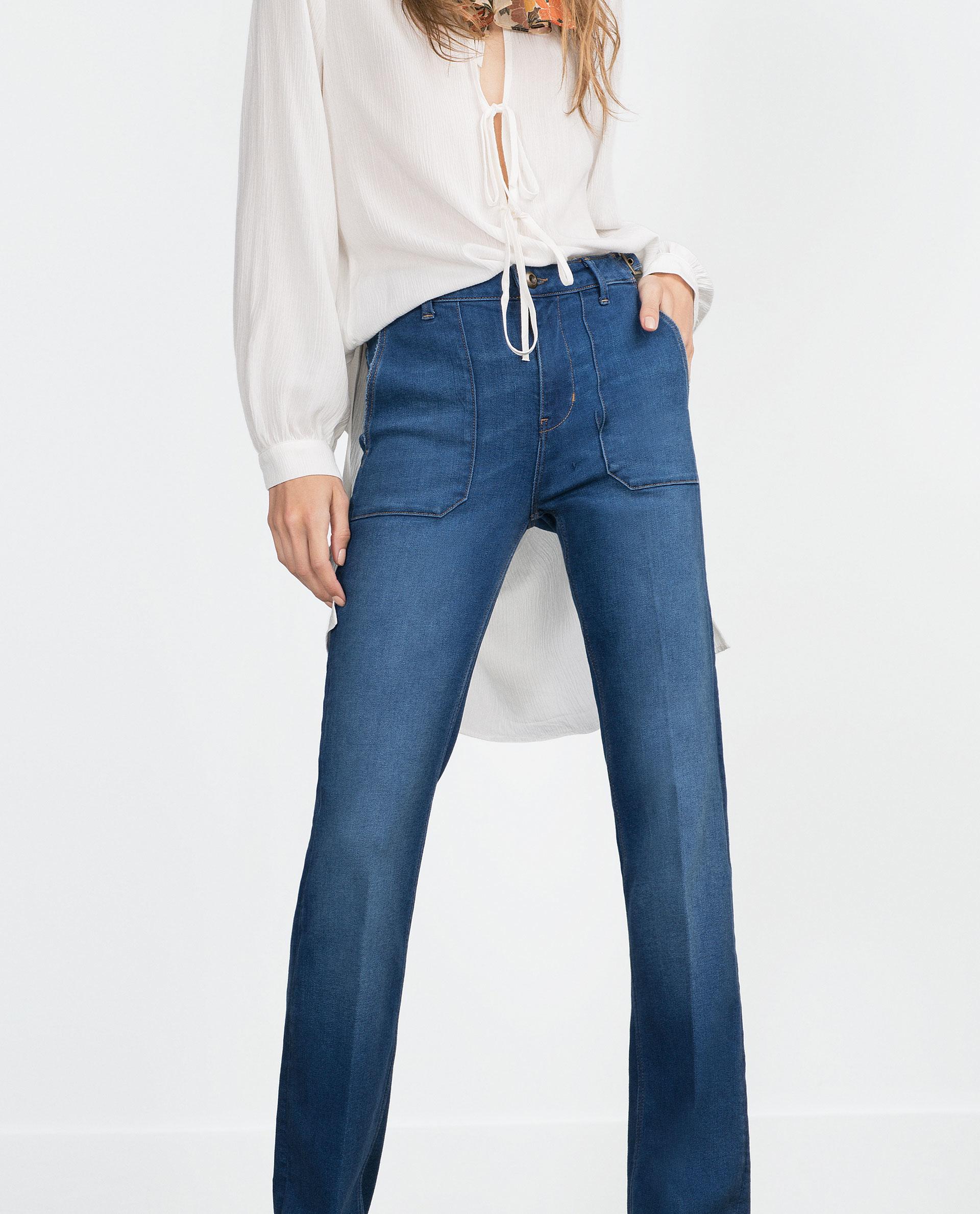 Luxury Zara Ripped Cigarette Jeans In Blue  Lyst