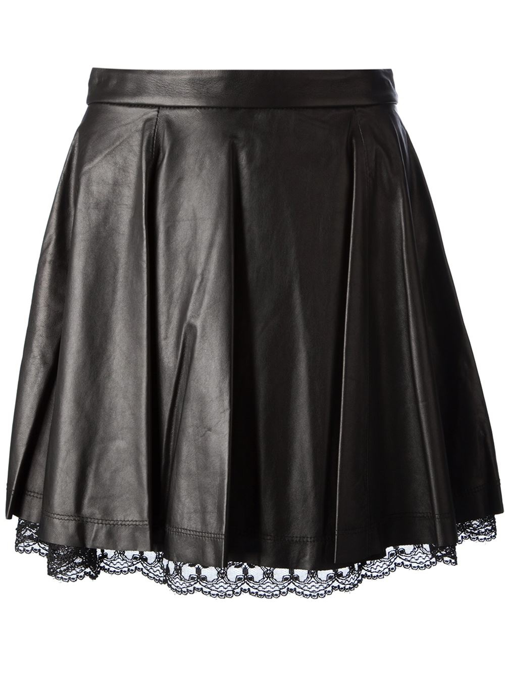 lace hem pleated skirt in black lyst