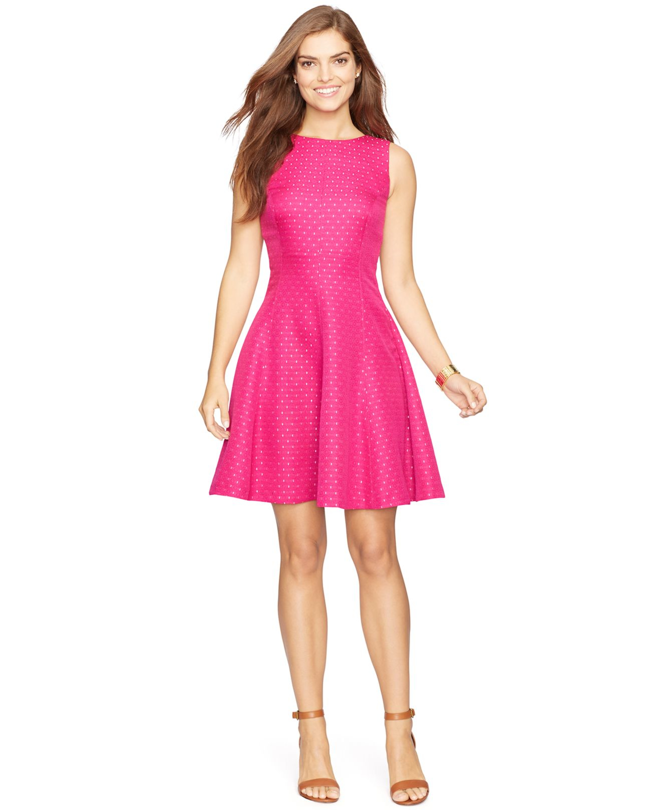 American Living Jacquard Fit Flare Dress In Pink Lyst