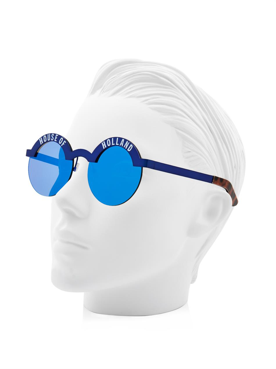 House of Holland Brow Beater Metal Sunglasses in Blue