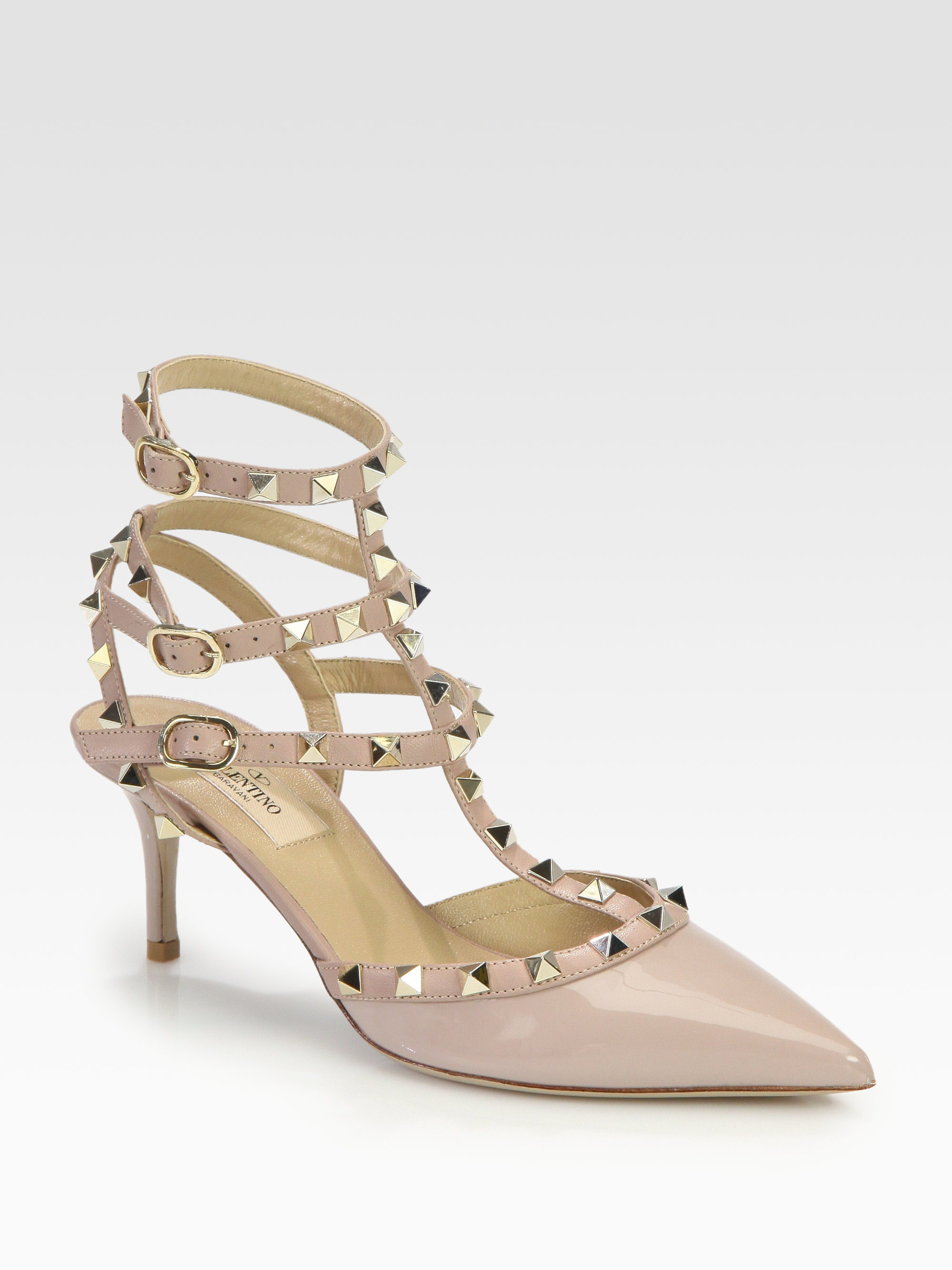 valentino patent leather rockstud pumps in natural blush lyst. Black Bedroom Furniture Sets. Home Design Ideas