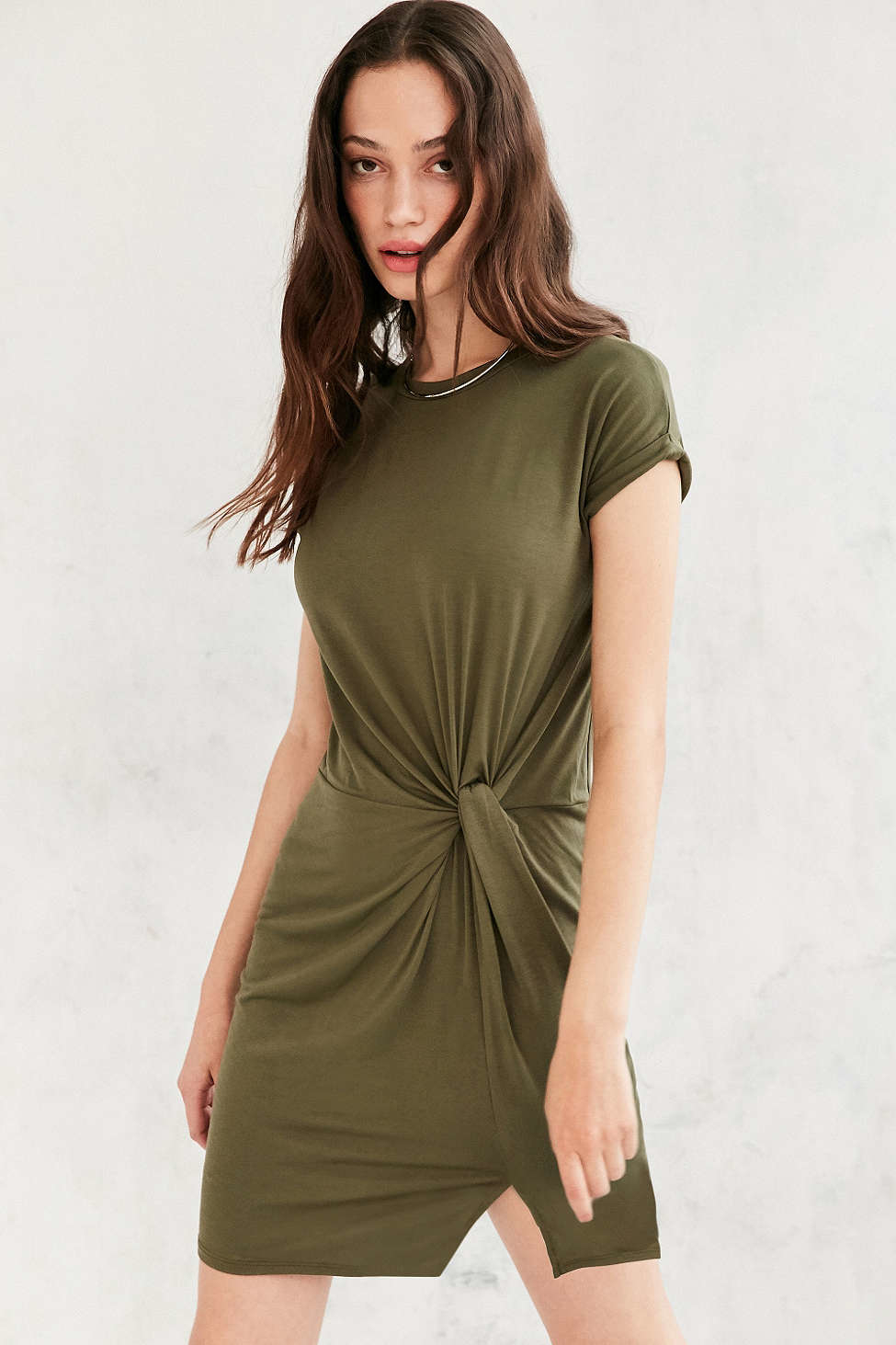 Silence Noise Side Knot T Shirt Dress In Green Lyst
