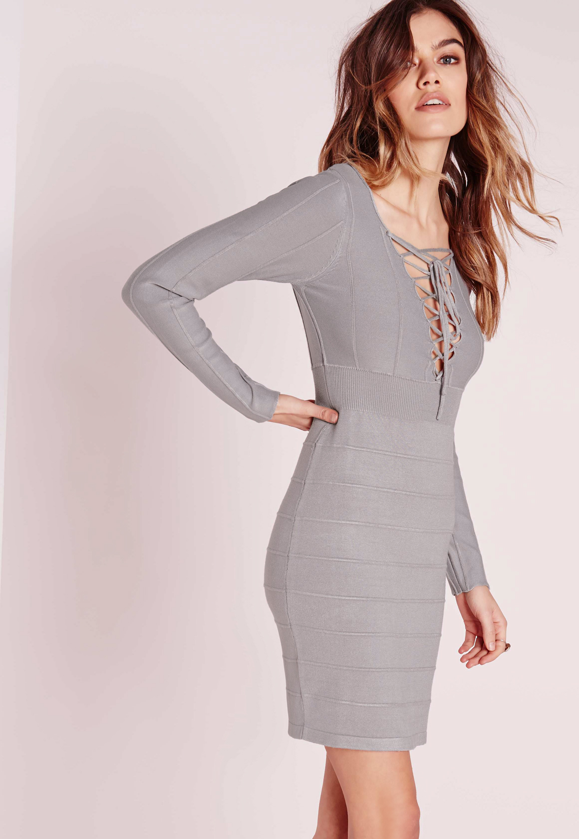 Lace Up Bodycon Knitted Dress Grey