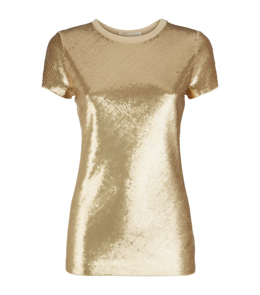 Michael kors sequinned t shirt in metallic lyst for Michael kors mens shirts sale