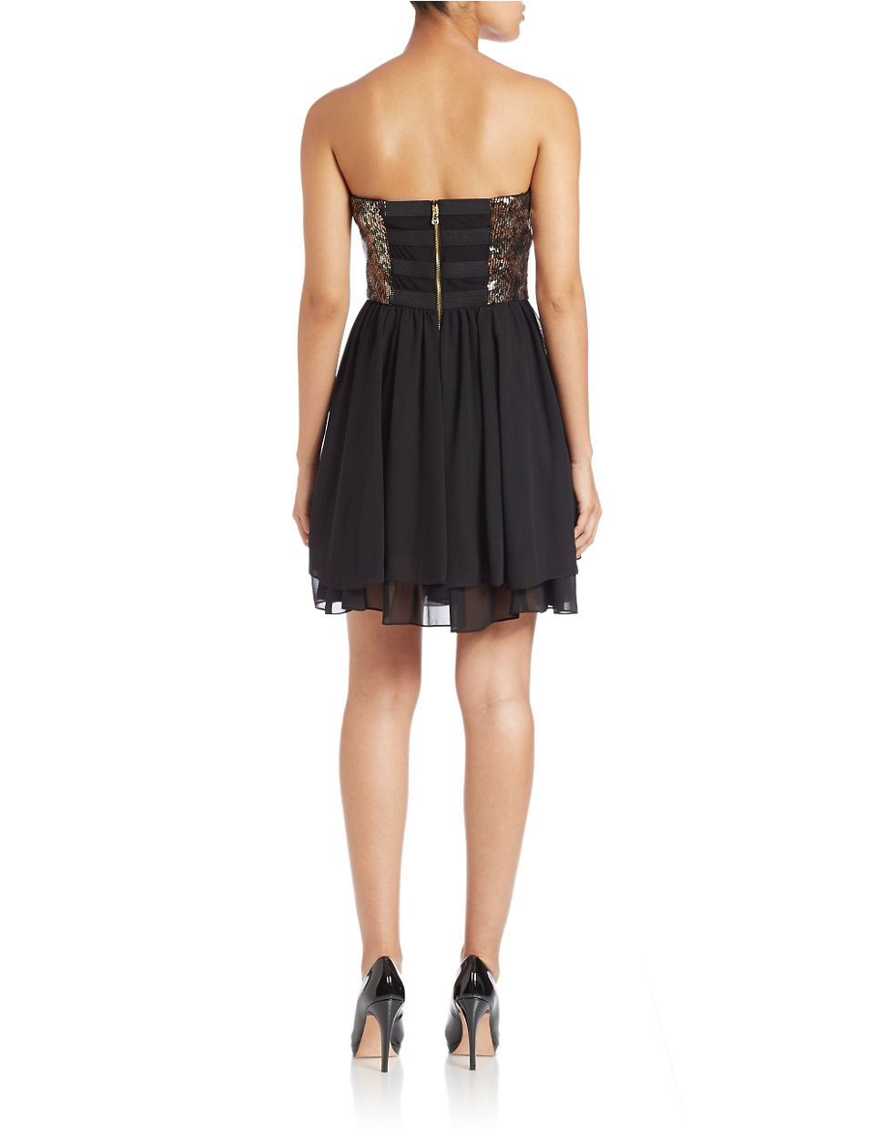 Guess Snakeskin Sequin Fit And Flare Dress In Black Lyst