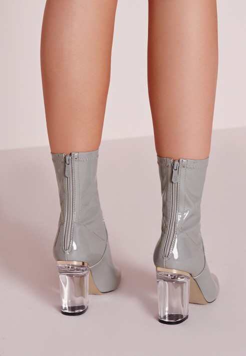 cb0eebaac5 Missguided Patent Ankle Boots Perspex Heel Grey in Gray - Lyst