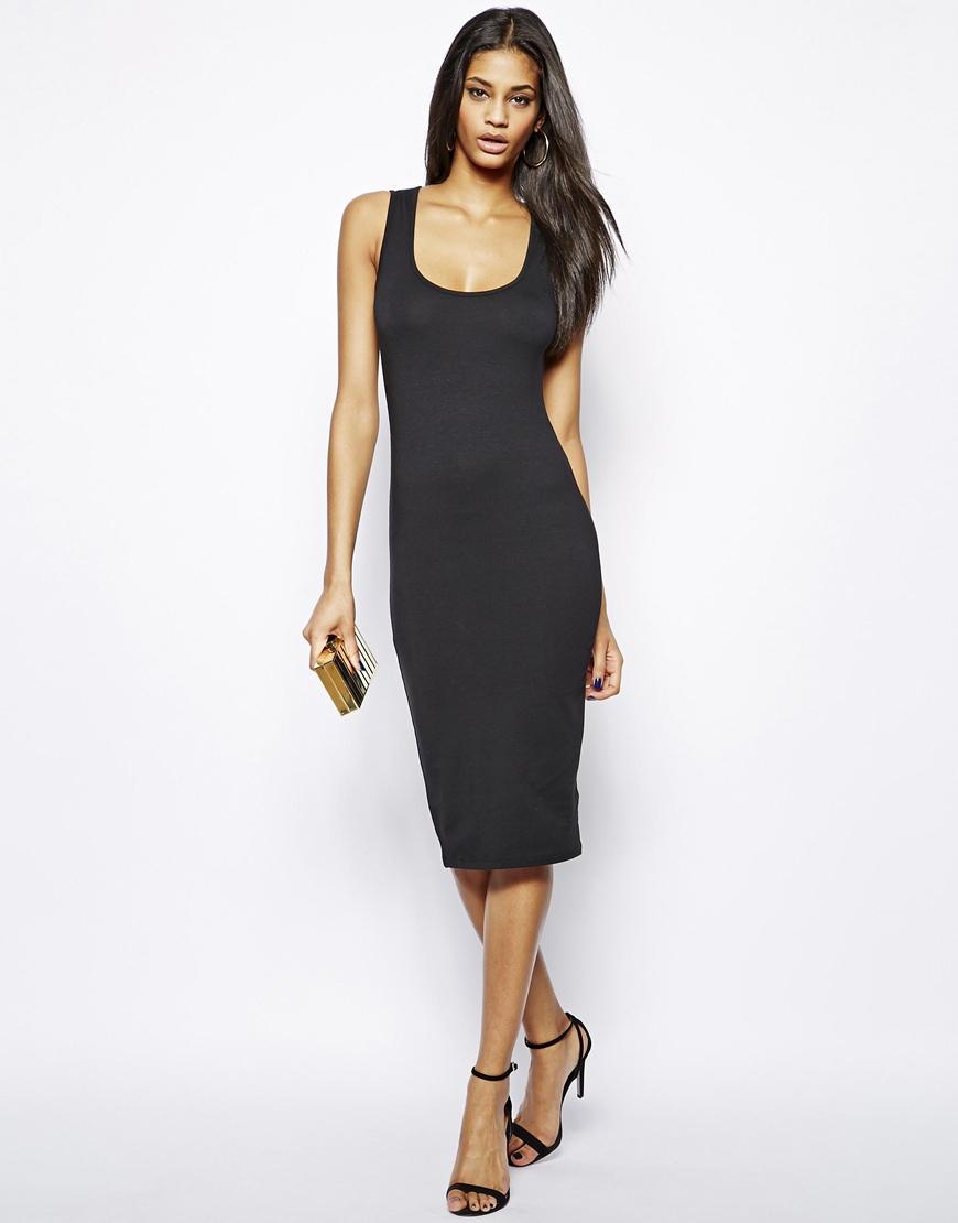 a0a60fe1c0cd Lyst - ASOS Midi Bodycon Vest Dress in Black